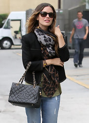Rachel Bilson kept cozy with a chic animal-print scarf by Ferragamo while out and about in LA.