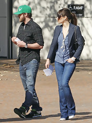 Jessica Biel stopped by the UCLA Medical Center dressed down in William Rast bootcut jeans and a print blouse.