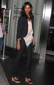 Liya Kebede pulled her casual-chic look together with a pair of wedge pumps.