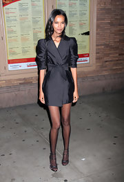 Liya Kebede kept it classic in a black evening coat by Stella McCartney during the Glamour Women of the Year Awards.