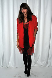 Lou Doillon finished off her outfit with black tights and ankle-tie sandals.