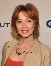Sharon Lawrence styled her hair into a layered razor cut for the World Oceans Day party.