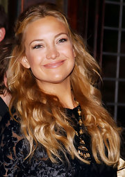 Kate Hudson paired a gold chandelier necklace with a black velvet-burnout dress for the New York screening of 'Cutlass.'