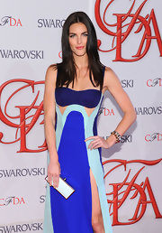 Hilary Rhoda was ultra modern at the CFDA Fashion Awards, where she donned a duo of spiky bangles with a tricolor cutout gown.