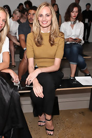 Lauren Santo Domingo was casual yet classic in a beige knit top and black pants during the Sophie Theallet fashion show.