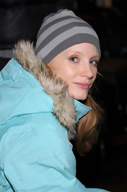 Jessica Chastain kept warm with a striped gray beanie and an aqua-blue jacket for the Oakley Learn to Ride event.