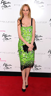 Lauren Santo Domingo brightened up the Bent on Learning Benefit with her neon green Proenza Schouler print dress.