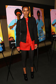 Liya Kebede's boxy black utility jacket and oversized red button-down were an edgy-chic pairing.