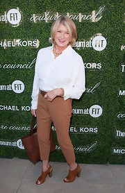 Martha Stewart looked slightly androgynous in caramel-colored Capri pants and a white button-down at the Couture Council Fashion Visionary Awards.