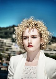 Julia Garner sported a short curly 'do at the 'We Are What We Are' portrait session in Cannes.