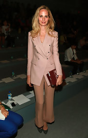 Lauren Santo Domingo was all business in a double-breasted mauve blazer at the Adam fashion show.