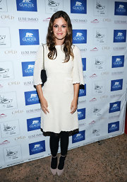 Rachel Bilson chose a simple white tweed dress by Dolce & Gabbana for the Glacier Films launch party.
