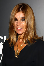 Carine Roitfeld attended the 'Richard Hambleton - New York' event wearing an edgy flip hairstyle.