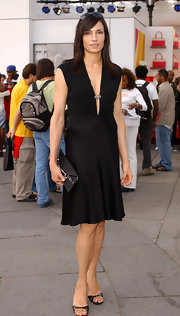 Famke Janssen slipped into a pair of black sandals at Olympus Fashion Week 2005.
