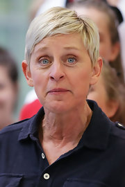 Ellen DeGeneres arrived at Sydney Airport wearing her hair in a pixie cut.
