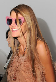 Anna dello Russo kept her look fun with a pair of pink-framed, oversized cateye-style sunnies during Mercedes-Benz Fashion Week.