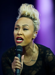 Emeli Sande performed at the Isle of Wight Festival rocking a sky-high fauxhawk.