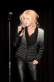 Cyndi Lauper gave a talk at the Family Equality Council Night wearing a striped cardigan and a pair of leather pants.