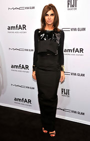 Carine Roitfeld paired a multitextured black top with a long skirt for her amfAR New York Gala look.