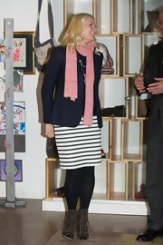 Princess Mette-Marit completed her ensemble with a pair of lace-up boots.