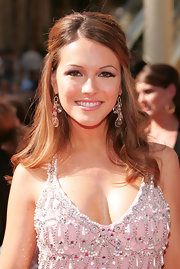 Chrishell Stause complemented her heavily embellished dress with a pair of crystal chandelier earrings.