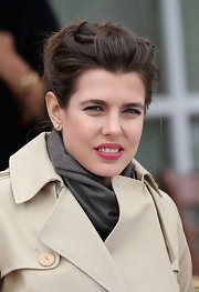 Charlotte Casiraghi added a bit of sparkle with a pair of diamond studs.