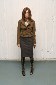 Carine Roitfeld looked rocker-glam in her studded black open-toe boots.
