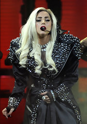 Lady Gaga wore a diamond bracelet for added sparkle to her studded coat while performing at the iHeartRadio Music Festival.