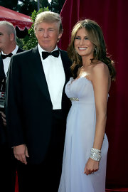 Melania Trump radiated with her layered diamond bracelets at the Emmy Awards.