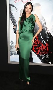 Famke Janssen attended the TCL Chinese Theatre's premiere of 'Hansel and Gretel' wearing an open back silk dress.