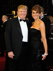 Melania Trump arrived for the Academy Awards carrying a bejeweled black clutch.
