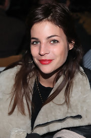Julia Restoin-Roitfeld perked up her look with a swipe of bright red lipstick during the Rodarte fashion show.
