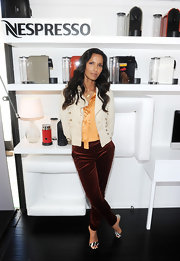 Padma Lakshmi pulled her outfit together with a pair of printed sandals.