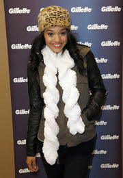 Kiersey Clemons topped off her cold-weather attire with a leopard-print fur hat.
