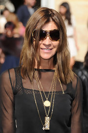 Carine Roitfeld arrived for the Christian Dior fashion show wearing a pair of oval tortoiseshell sunnies.