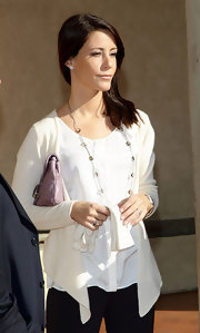 Princess Marie layered a white cardigan over a matching blouse for her visit to Badia Fiesolana.