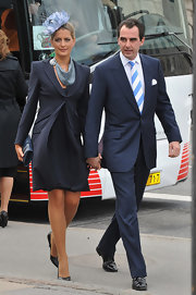 Princess Tatiana opted for a navy skirt suit when she attended the christening of Crown Prince Frederik of Denmark's twins.