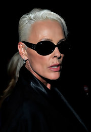 Brigitte Nielsen looked edgy with her short silver hair at the PPQ Spring 2011 show.