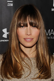 Jessica Biel wore her tresses straight with eye-skimming bangs during the Next Generation Filmmaker dinner.