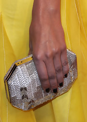 Camilla Belle accessorized with this chic geometric, beaded clutch by Ferragamo at the Art of Elysium's Heaven Gala.