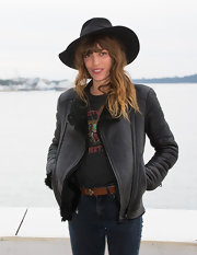 Lou Doillon was rocker-chic in a black leather jacket and jeans during the Midem photocall.