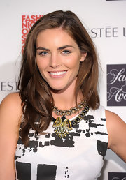 Hilary Rhoda injected a touch of edge with a chunky tribal-chic necklace.