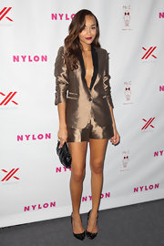 Ashley Madekwe was funky and fab in a gold short suit by The Kooples during the Nylon September TV issue party.