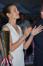 Charlotte Casiraghi opted for a red mani to finish off her look.