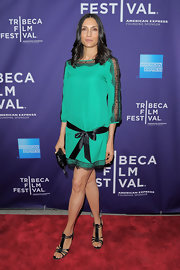 Famke Janssen displayed her toes in strappy gladiator heels at the Tribeca Film Festival.