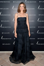 Kasia Smutniak chose a floor-sweeping black spaghetti-strap gown for the Nastri d'Argento Awards cocktail party.