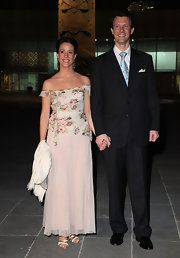Princess Marie looked lovely in an off-the-shoulder gown with a floral bodice while visiting the Anthropologic National Museum in Mexico.