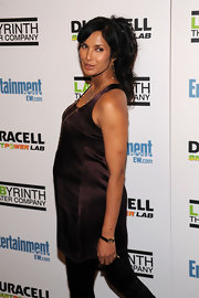 Padma Lakshmi attended the LAByrinth Theater Company's gala benefit wearing a stylish rectangle-faced watch.