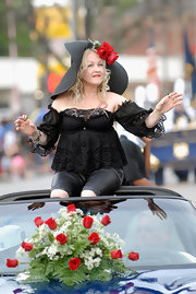 Cyndi Lauper was seen shooting scenes for a new TV series wearing a lace off-the-shoulder top.