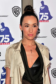 Maggie Q swept her hair up into a tight top knot for the Superman 75 party at Comic-Con.